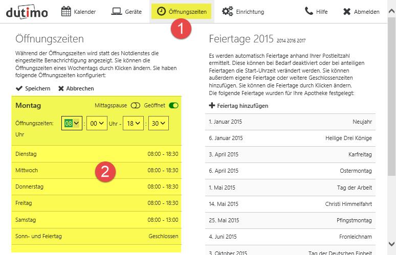 Öffnungszeiten konfigurieren auf dutimo.de