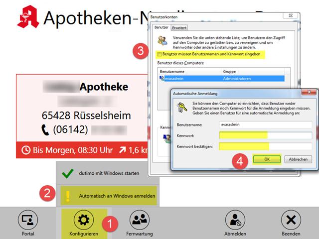 Automatische Anmeldung in dutimo Anzeigegerät einrichten