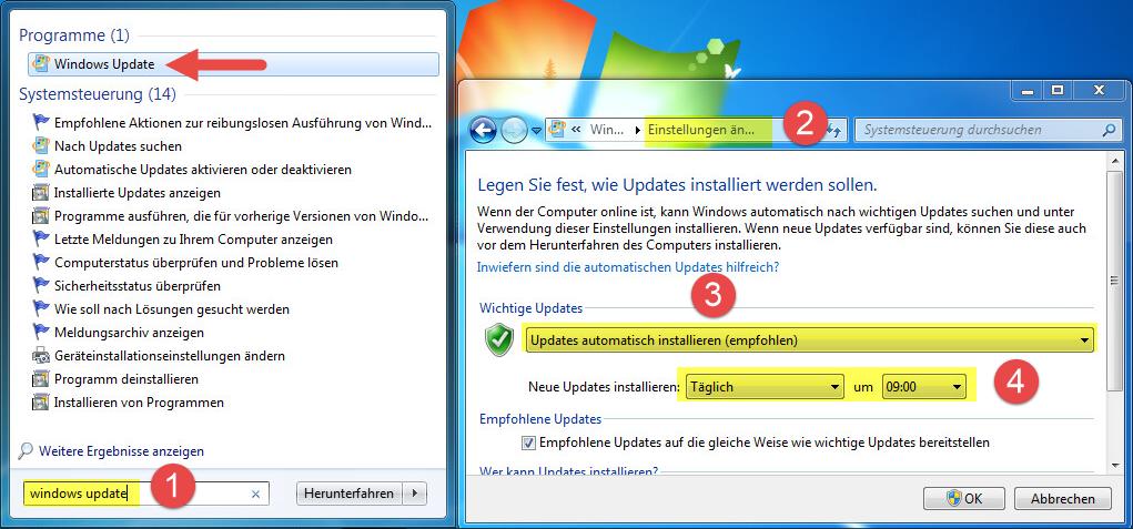 Prüfen, ob Windows Update für das dutimo Anzeigegerät aktiviert ist