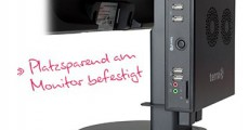Terra Mini-PC hinter dem Monitor